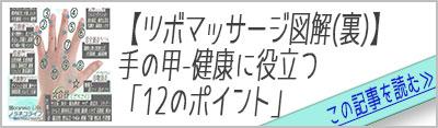手の甲【ツボマッサージ図解】健康に役立つ効果-12のポイント