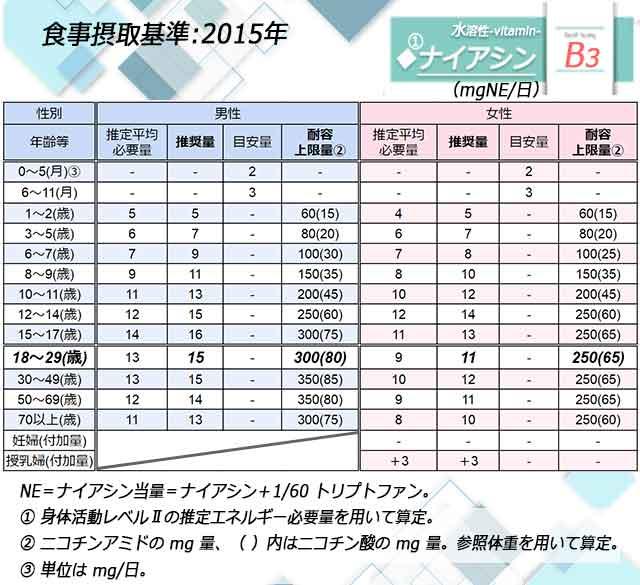 「ナイアシン」日本人の食事摂取基準◆画像